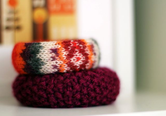 winter knitted bracelets with own hands