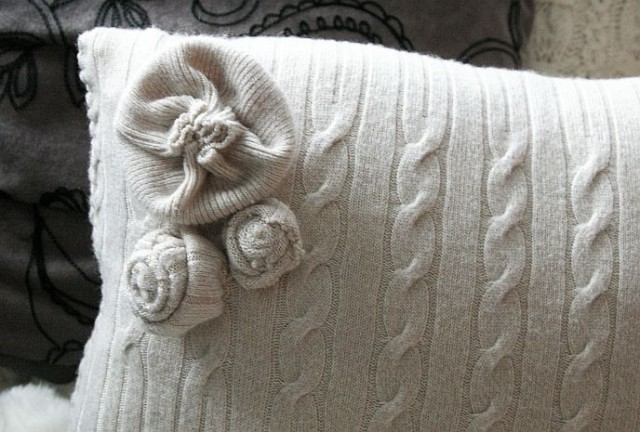 pillowcase with your hands from an old cushion sweater
