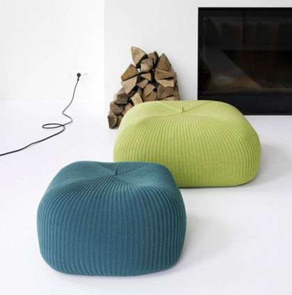 Knitted cushion covers for pouffes