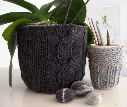 Knitted Covers for Flower Pots