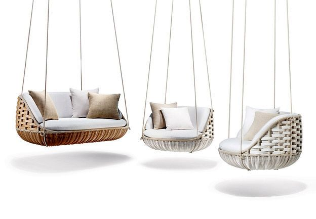 hanging chairs and a sofa