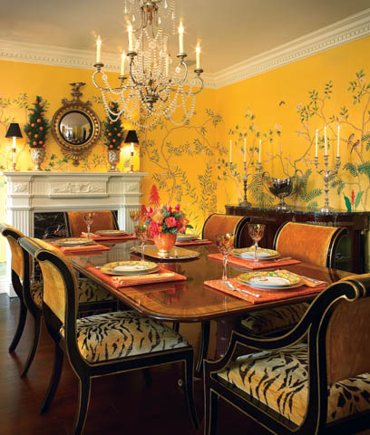 Tiger print in the dining room interior