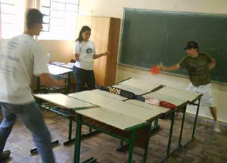 Table tennis in the school.