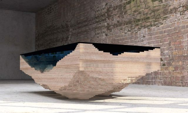 original table in the form of a pond