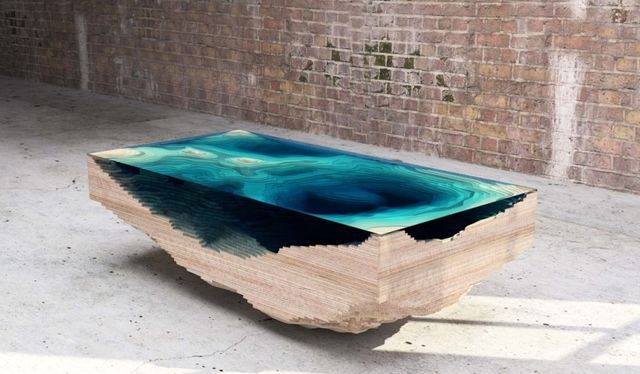 The glass table of the Abyss table by Christopher Duffy