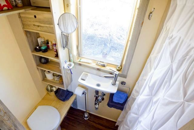 Bathroom in the summer small house on wheels