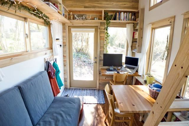 Living room in a small summer house on wheels