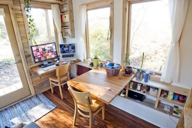 Working area in the living room of a summer house on wheels