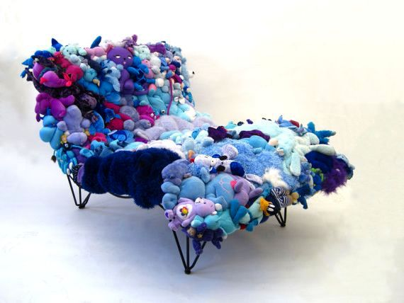 Sofa of soft toys in blue tones