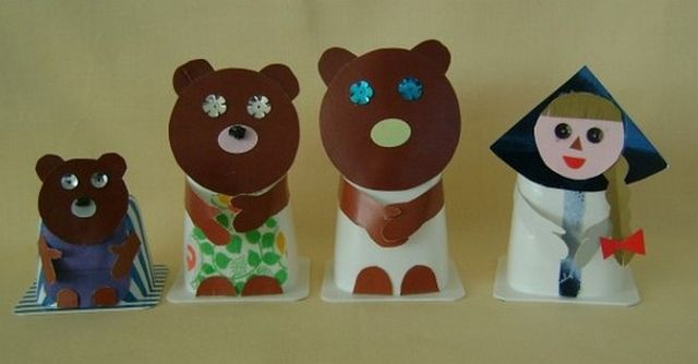 Dolls for a fairy tale Three bears from a paper step 4
