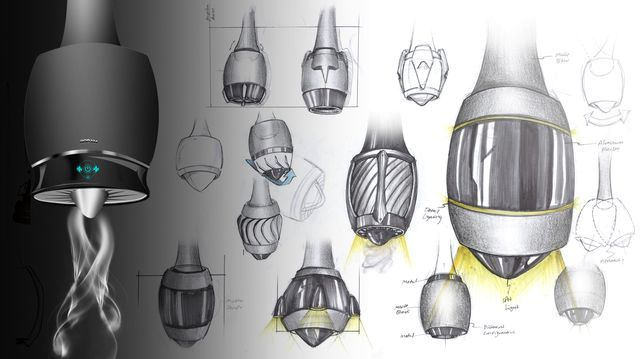 sketches of modern futuristic hood Turbo from Juan Restrepo