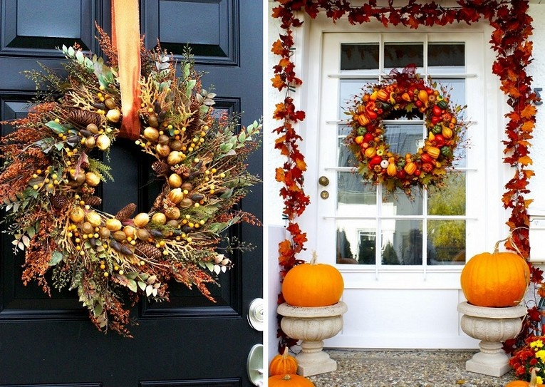 Pumpkins at the entrance to the house in the country or in the cottage