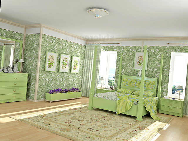 Light pastel shades of green in the bedroom
