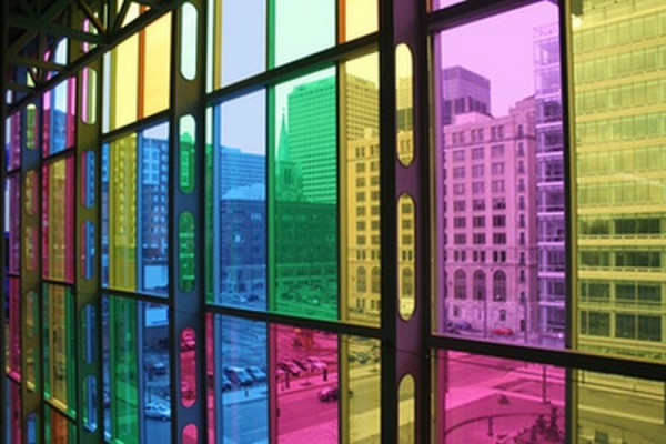 Colored glass on the windows