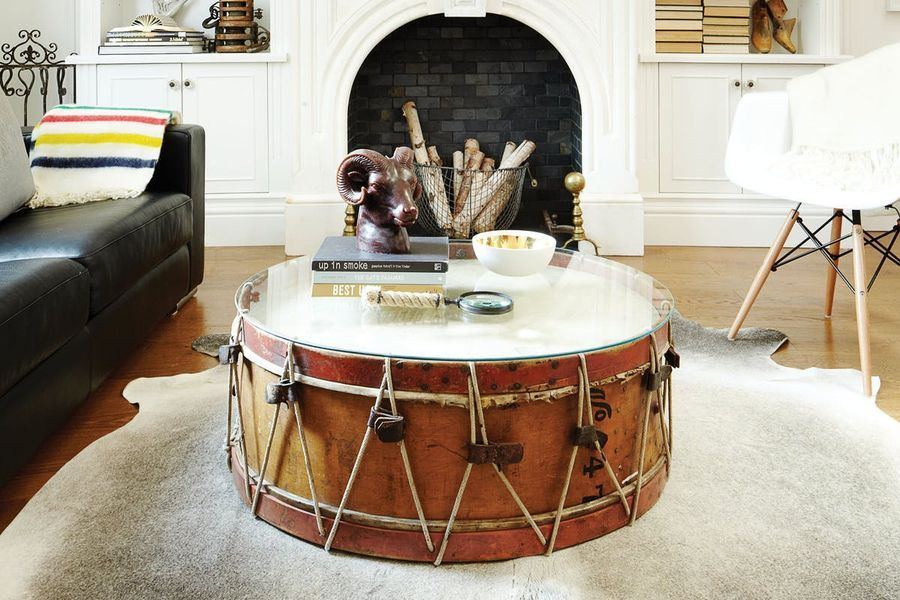 coffee table from a drum