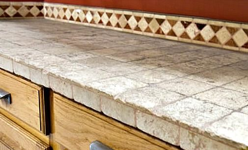 kitchen worktop made of stone blocks