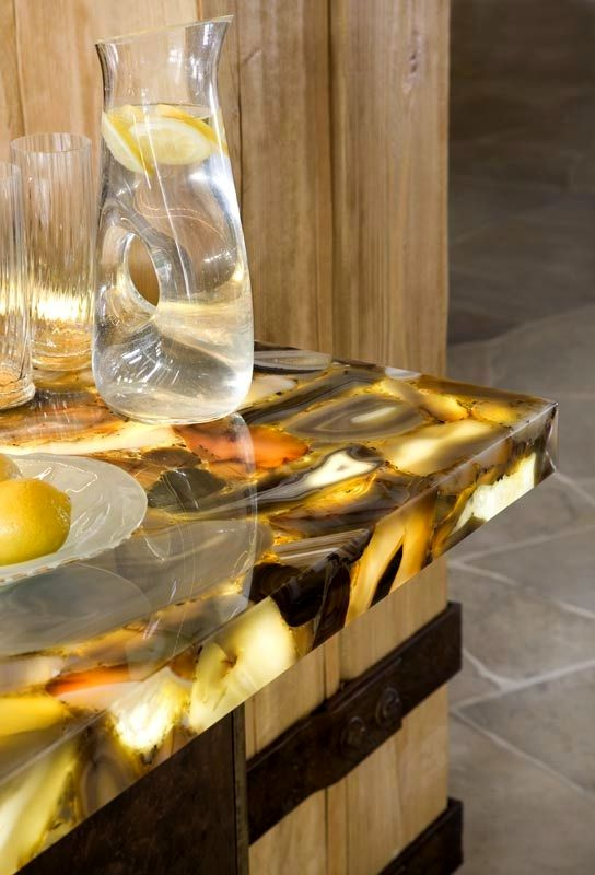 unusual kitchen countertops in glass with backlight