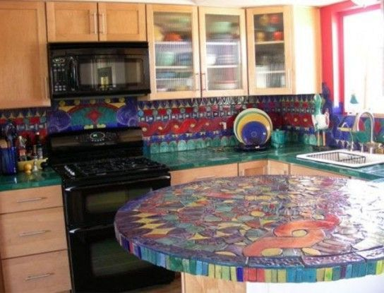 kitchen table of large mosaic