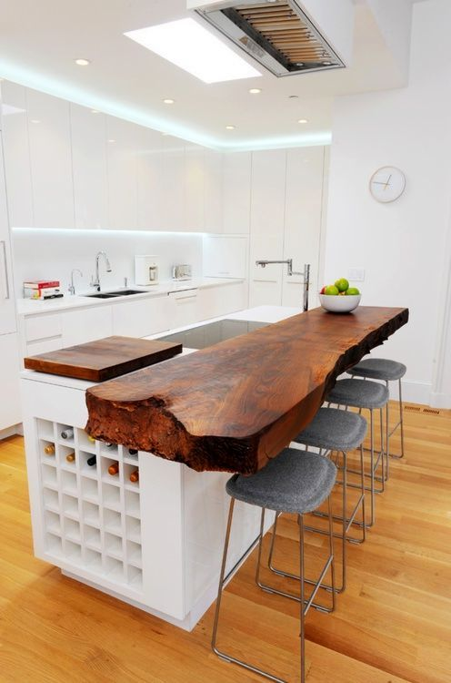 unusual kitchen worktop from a wooden unprocessed board