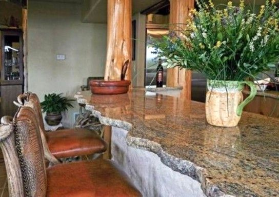 stone kitchen countertop with uneven edge