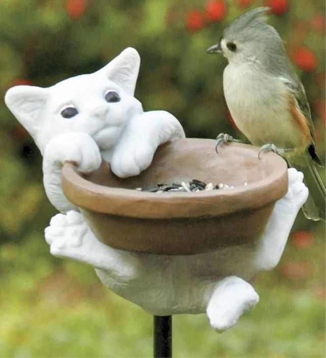 Fun bird feeder for the ceramic kitten