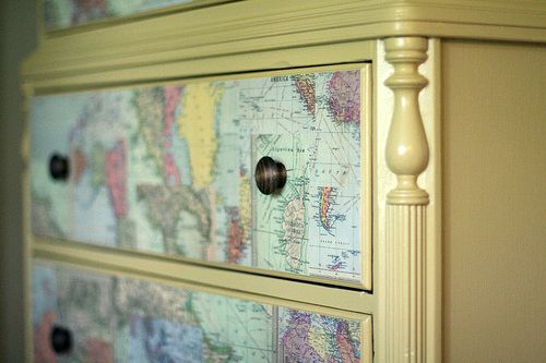 card as the decor of chest drawers