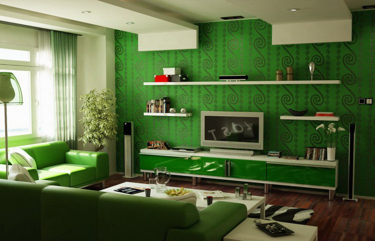 Dark pattern on green wallpaper photo
