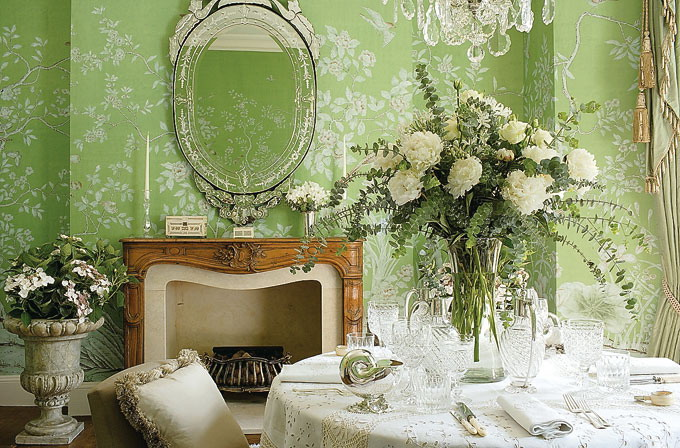 Green wallpaper with a light pattern in the interior