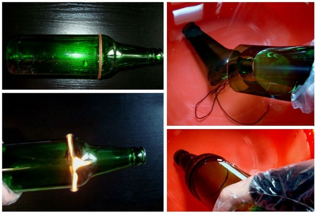 How to carefully separate the neck from a glass bottle at home