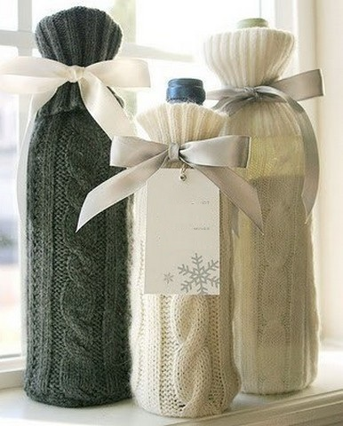 Knitted Glass Bottle Vases