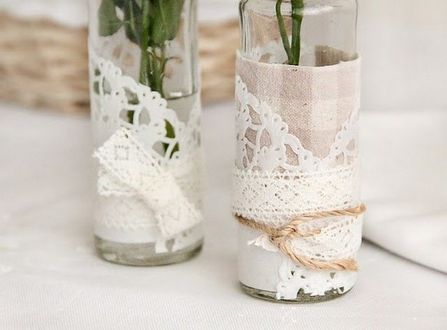 Original vases using fabric and lace