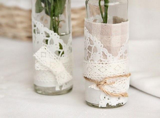 Оригинални вази, използващи плат и дантела