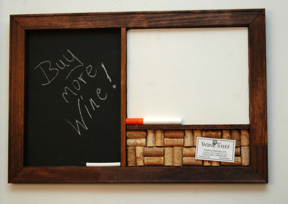 Three in one: chalk board, note board and cork board