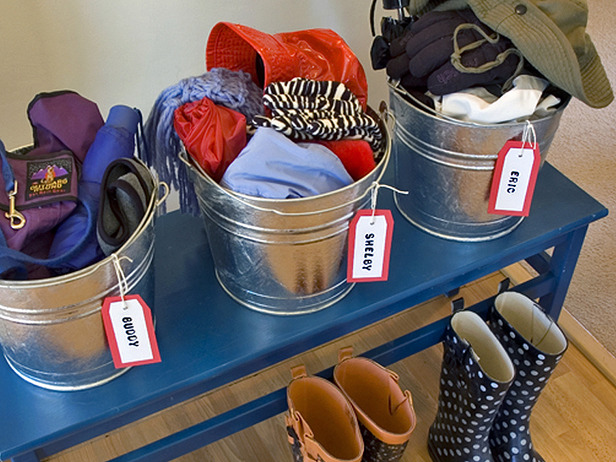 Buckets for storing clothes