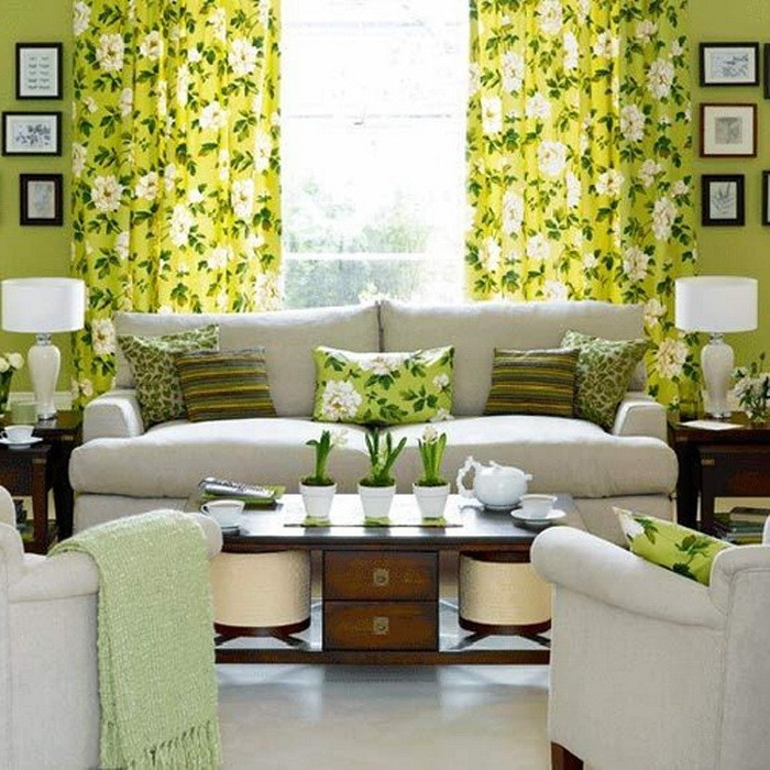 Curtains in the spring interior