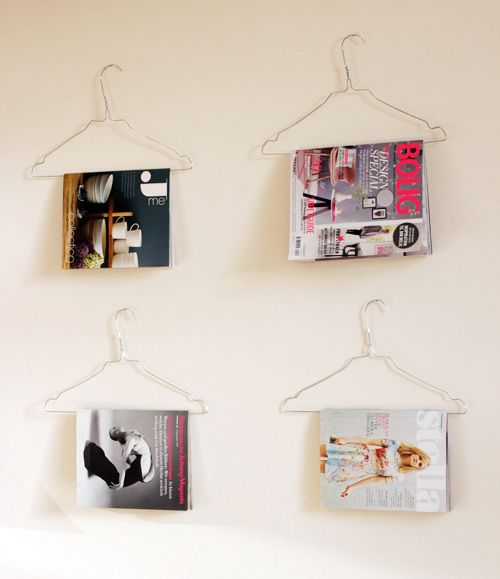 wire hanger for magazines and books