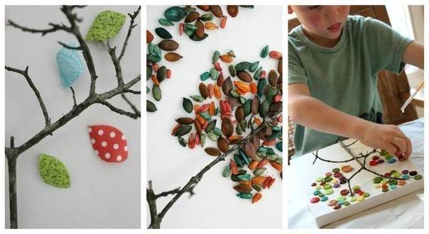 Crafts with children from twigs and branches - photo