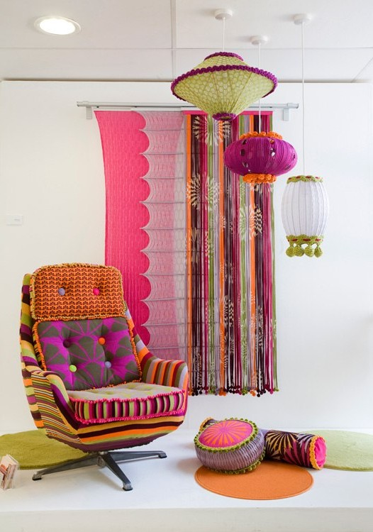 Textiles on the walls for spring decor