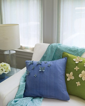 Green, cyan and blue textiles for home decor by spring