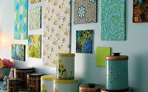 Panel on the wall of fabric: spring decor