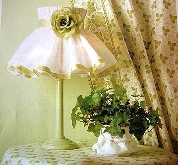 Fabric lampshade and floral light curtains in spring decor