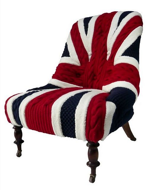 connected to a seat cover in the form of a British flag