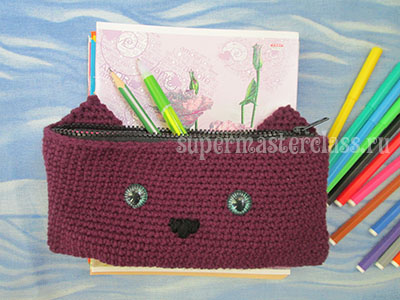 Crochet knitted pencil case