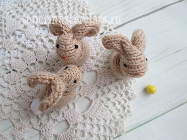 Knitted hares knitting