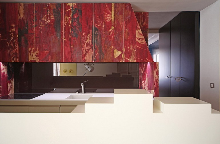 Kitchen in an apartment in the style of a fairy tale about Little Red Riding Hood
