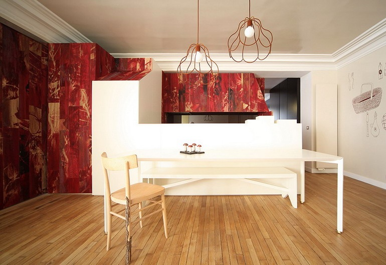 Dining area in an apartment in the style of a fairy tale about Little Red Riding Hood