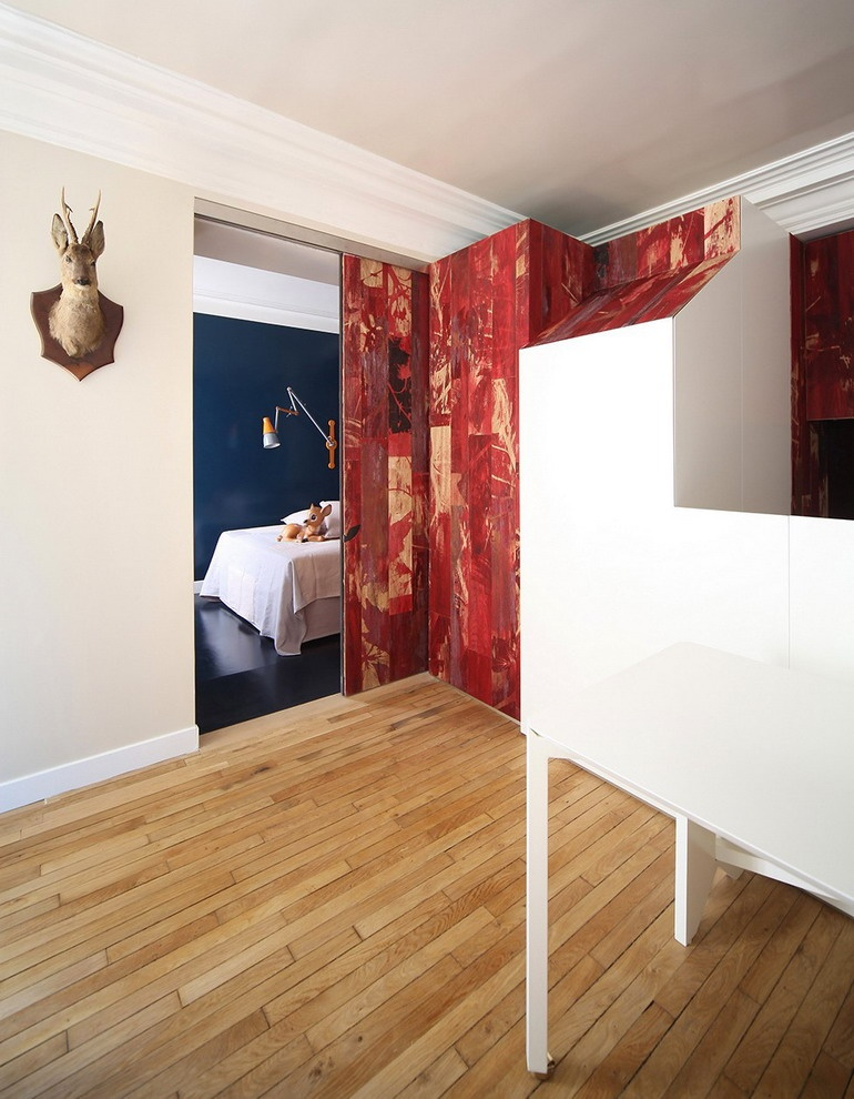 Deer on the wall and entrance to the bedroom photo