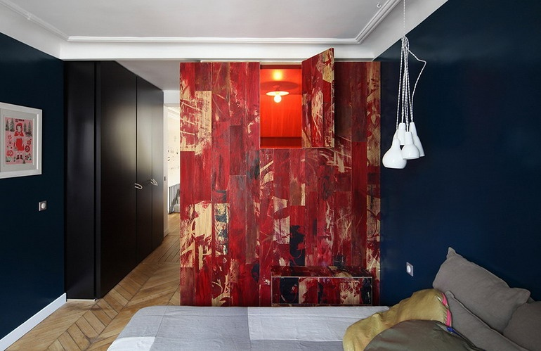 Window to the bathroom - stylization as a house in red colors