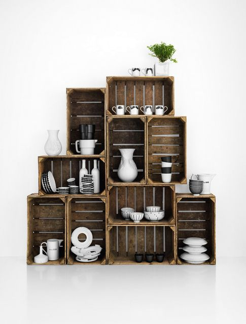 wooden shelving from drawers