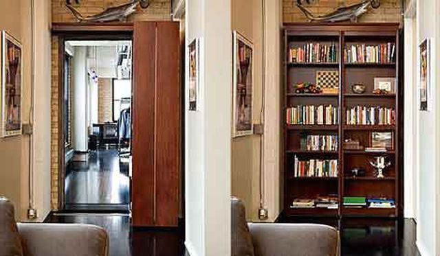 Practical door in the form of a bookcase